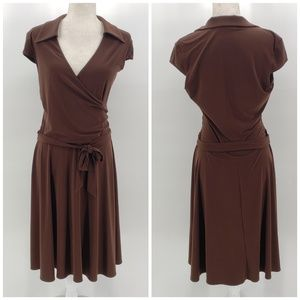 Laundry by Shelli Segal brown midi dress Sz 8
